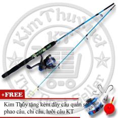 Bộ Cần câu cá 2 khúc Ruột đặc 1m5 (*Kim Thủy) KT A1 Blue