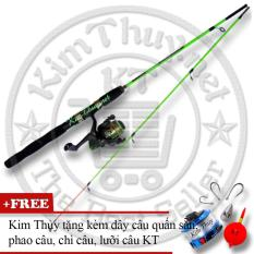 Bộ Cần câu cá 2 khúc Ruột đặc 1m5 (*Kim Thủy) KT A1 Green