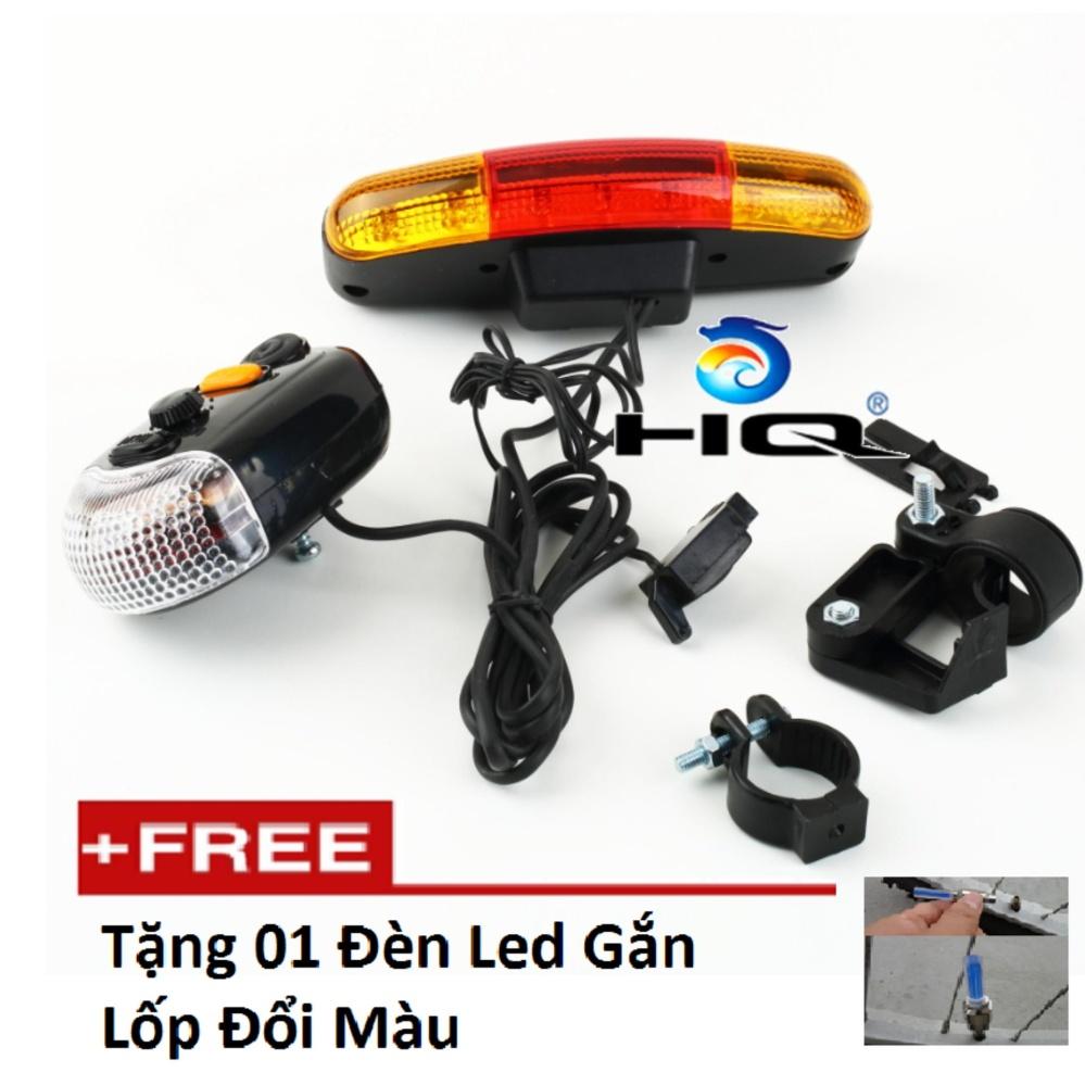 Bộ còi và đèn tín hiệu xe đạp HQ 4TI74 tặng đèn led gắn van xe