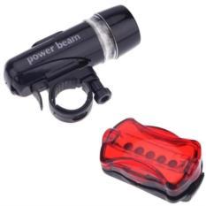 Bộ đèn pin gắn xe đạp và đèn chiếu hậu 5 LED WJ-101 ALBW (Đen đỏ)
