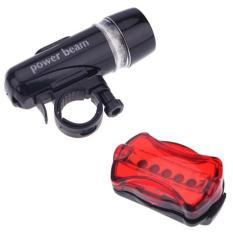 Bộ đèn pin gắn xe đạp và đèn chiếu hậu 5 LED WJ-101 (Đen đỏ) tặng khăn lau đa năng K 275