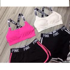 Cửa hàng bán Bộ quần áo thể thao Pink(tập gym,đi biển,yoga) hồng đen