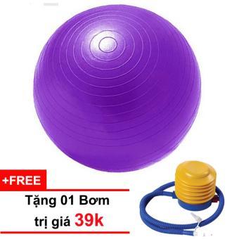 Bóng tập Yoga cao cấp 65cm trơn (tím) tặng kèm 01 bơm trị giá 39k