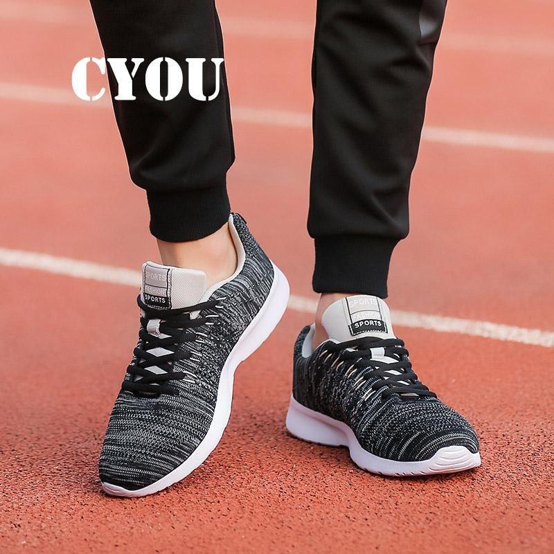 CYOU New Arrival 2017 Mens Running Shoes Light Weight Air Mesh Men Sneakers Sport Shoes Athletic Shoes for Men Kasut Lelaki (Black) - intl