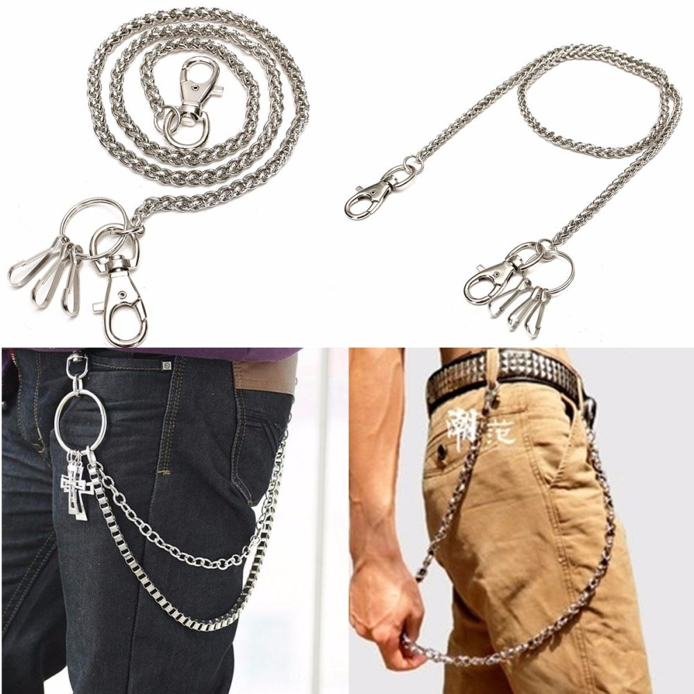Dây xích đeo quần Jean móc chìa khóa cổ điển đơn giản dành cho Nam bằng Bạc - quốc tế