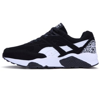 Fashion Casual Men Lace Up Running Sneakers Shoes (BLACK) - intl - 2