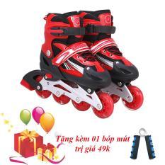 Giày Trượt Patin Đinh Tán Phát Sáng Bánh Size M - Tặng Kèm Bóp Mút