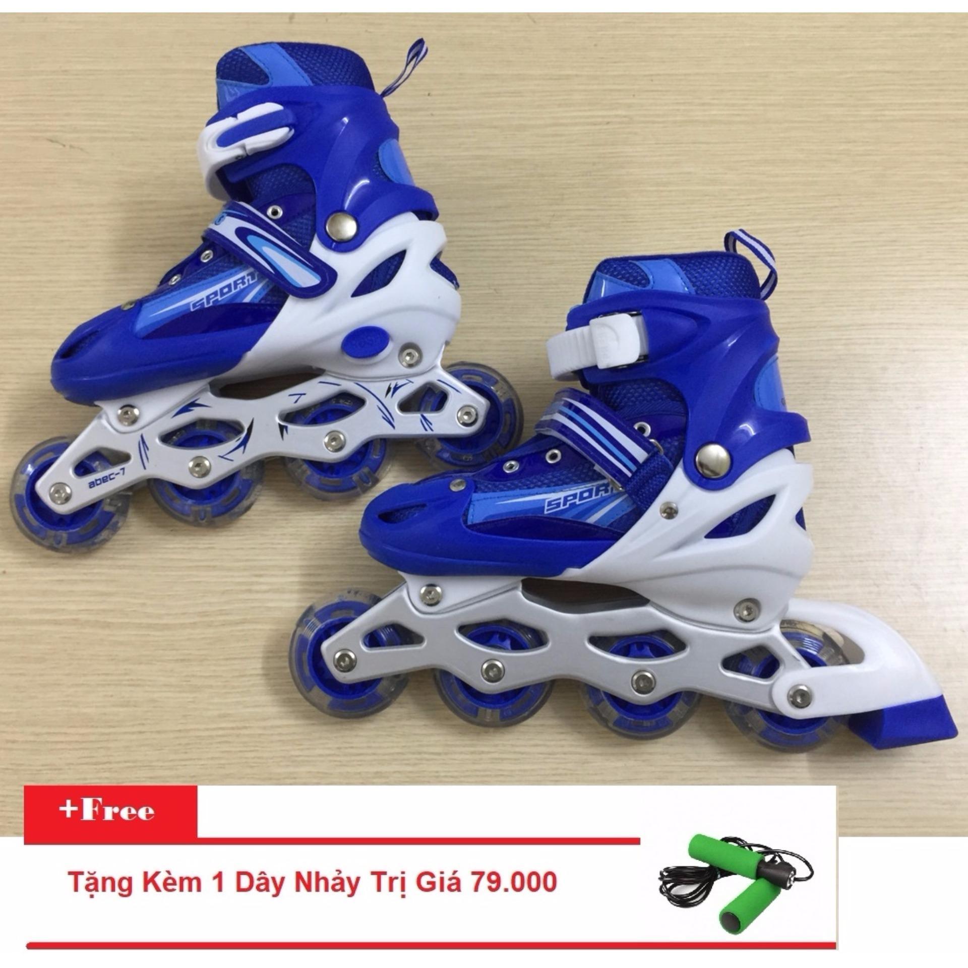 Giày Trượt Patin Gắn Đinh Phát Sáng (Size L - Xanh) + Tặng Kèm 1 Dây Nhảy