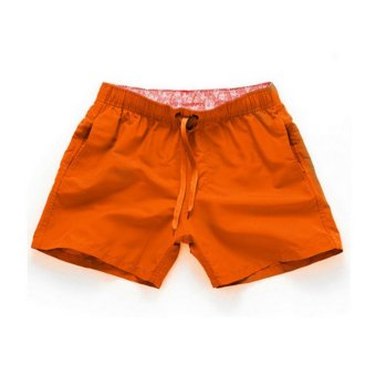 JOY Men's pure color beach pants Orange - intl