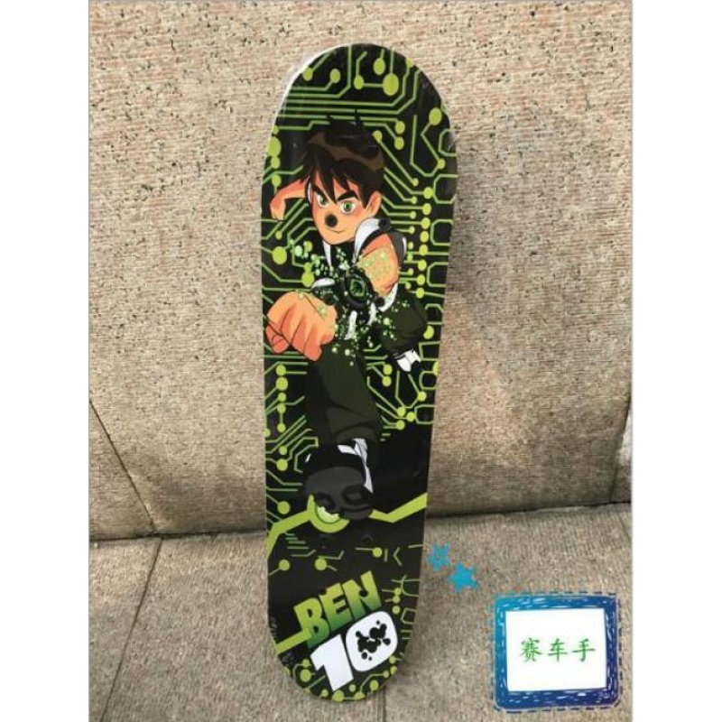 Leyi fashion four round childrens four wheel double sided skateboard(green) - intl