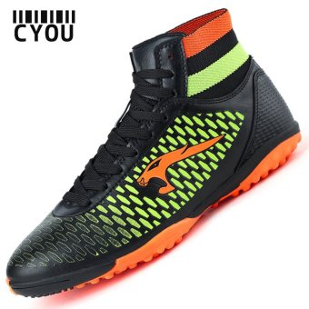 Men TF Soccer Shoes High Ankle Football Boots Soccer Cleat Boots(Black) - intl