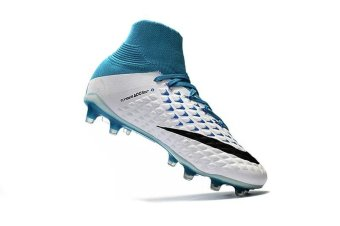 Mens Football Boots Women High Top Soccer Sneakers Bean threegenerations of 3D weaving high to help FG football shoes HypervenomPhantom III FG White and blue - intl