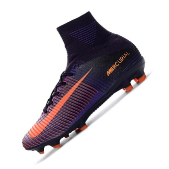 Mens Football Boots Women High Top Soccer Sneakers MercurialSuperfly V FG C Luo exclusive sun purple FG nail football shoes -intl
