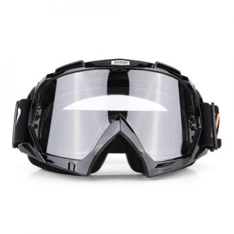 Motorcycle Motocross Dirt Bike Off-Road Racing Goggles Ski Glasses Eyewear (Black Clear-Lens) - intl