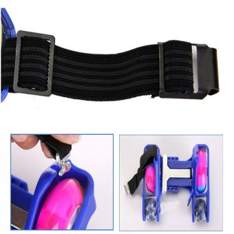 Newly Colorful PU 4 Wheel Flashing Roller Skates(Blue) - intl