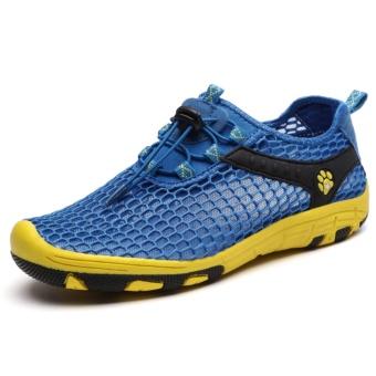 Outdoor Non Slip Breathable Mesh Climbing Mountaineering ShoesOutdoor Men And Women Climbing Shoe Couple Shoes (Blue) - intl