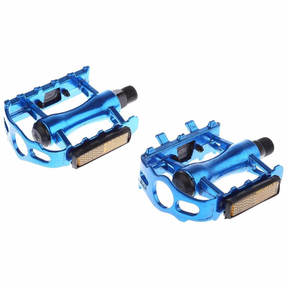 Paired Aluminum Alloy Flat Bicycle Pedal for Mountain Road Bike BMX Fixed Gear (Blue) - intl