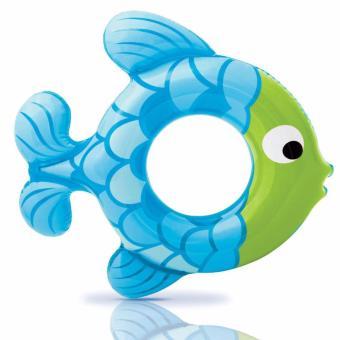 Phao tròn Intex hình cá xanh kích thước 77 x 76cm dùng cho bé từ 3đến 6 tuổi