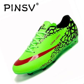 PINSV Men's Outdoor Football Shoes Boots Spike Soccer Shoes (Green)- intl