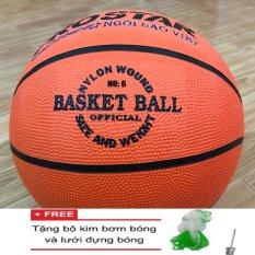Bảng Giá Quả bóng rổ cao su Prostar số 6 (cam) + Tặng bộ kim bơm và lưới đựng bóng