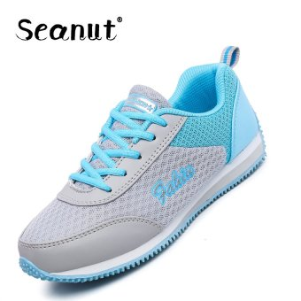 Seanut Woman Fashion Mesh Breathable Sprots Shoes Running Shoes(Blue) - intl