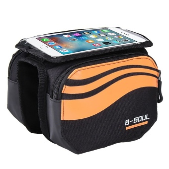 Sports Outdoors Cycling Bags -New Colorful Stylish 5.7 Inch Front Tube Touch Screen Phone Bag Holder Pouch For Bike Bicycle Cycling(Orange) - intl