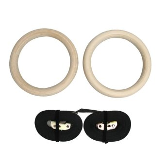 Wood Gymnastic Gym Rings with Adjustable Buckles Straps CrossFitness - intl
