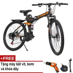 Xe đạp gấp địa hình AfterWard (đen) + Tặng 01 máy bắt vít DIY, 01 khóa chống trộm và bơm xe