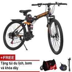 Xe đạp gấp địa hình AfterWard (đen) + Tặng túi xếp du lịch, 01 khóa chống trộm và bơm xe