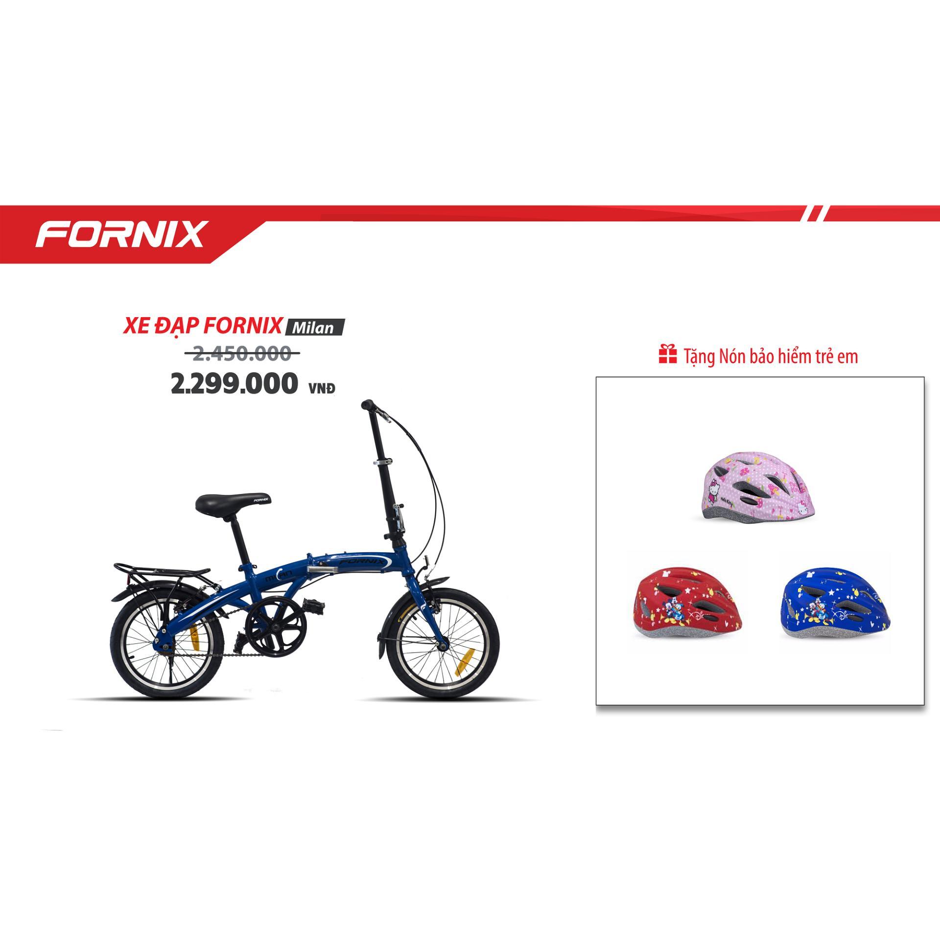 Xe đạp gấp trẻ em hiệu FORNIX, mã MILAN  ( Xanh dương ) + tặng nón bảo hiểm trẻ em A03NM13S( xanh chuột mickey)