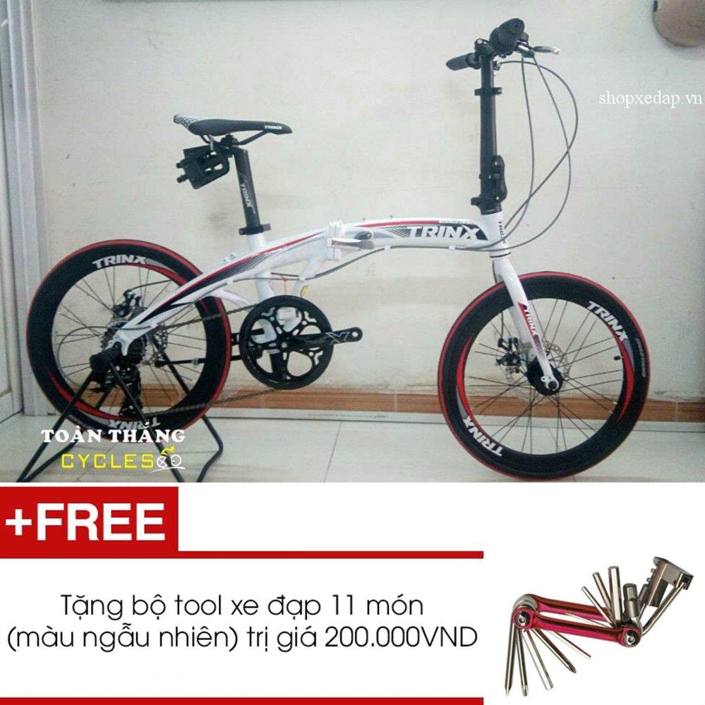 Xe đạp gấp TRINX DOLPHIN2.0 2016 (t=Trắng đen đỏ) + Tặng 1 bộ Tool xe đạp 11 món màu sắc ngẫu nhiên