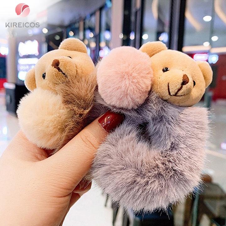 Cột Tóc Lông Xù Cao Cấp Đính Gấu Siêu Cute 5