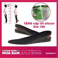 2 Miếng Lót Giày Tăng Chiều Cao 5cm  Đệm Khí 2 Lớp + Tặng Kèm 1 Cặp Lót Mũi Silicon
