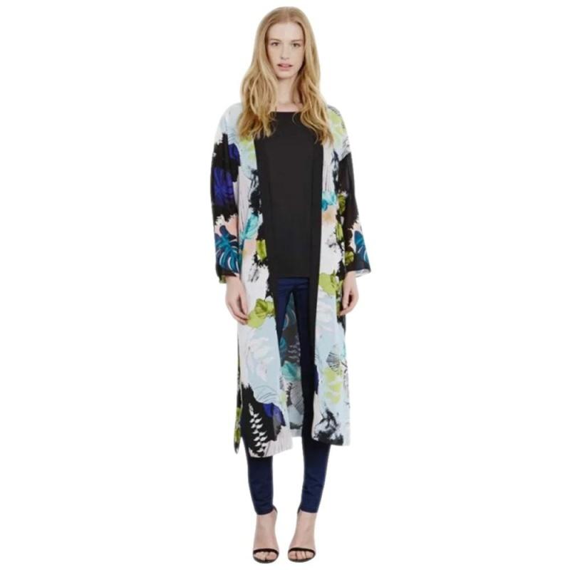 Nơi bán 2016 New Floral Print Kimono Cardigan Long Beach Top Cover Up Jacket M - intl