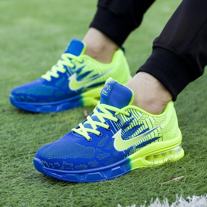2017 mens running shoes women sports sneakers damping cushion breathable knit mesh vamp outdoor walking shoes(green) - intl