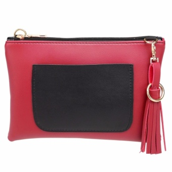 2017 Women Stylish Solid Clutch Sized Shoulder Bag with Big Pockets(Red) - intl