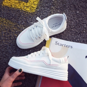 2017 Women's Fashion Lace Up White Shoes Leather Sports Shoes - intl