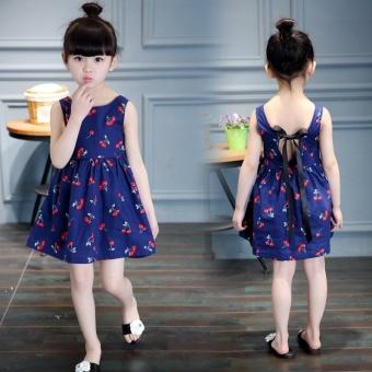 OE680FAAA4MNWOVNAMZ-8510509 - Áo đầm công chúa họa tiết in hoa vải cô-tông - Màu xanh navy - Quốc tế