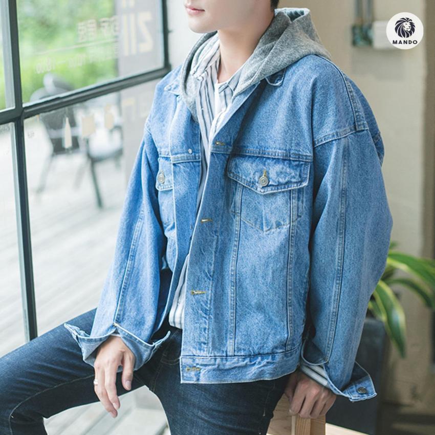 Áo Khoác Jean / Denim Jacket - AKB1 Xanh Bò + Tặng 1 Bộ Dụng Cụ Tiện Lợi