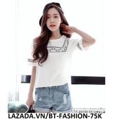 Áo Thun Nữ Kiểu Hoa Văn Thổ Cẩm Thời Trang Hàn Quốc  - BT Fashion AT048E (Trắng)