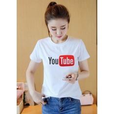 Áo thun nữ trắng in hình YouTube form rộng hàn quốc vải dày mịn AoK590Thời Trang Everest