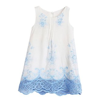 Baby Girls Princess Dress Sleeveless Embroidery Dresses - intl