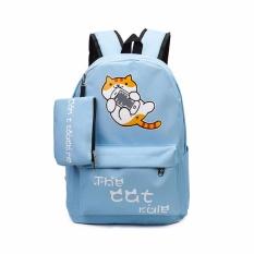 Balo đi học nữ mèo Kute ASB125-2 (Tặng kèm ví) (Xanh dương nhạt)