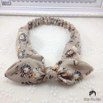 Băng Đô Tai Thỏ Màu Kem Hoa - Mã BD0113 Be