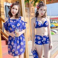 Chỗ nào bán Bikini 2 Mảnh + Váy hoa tôn dáng (Xanh)