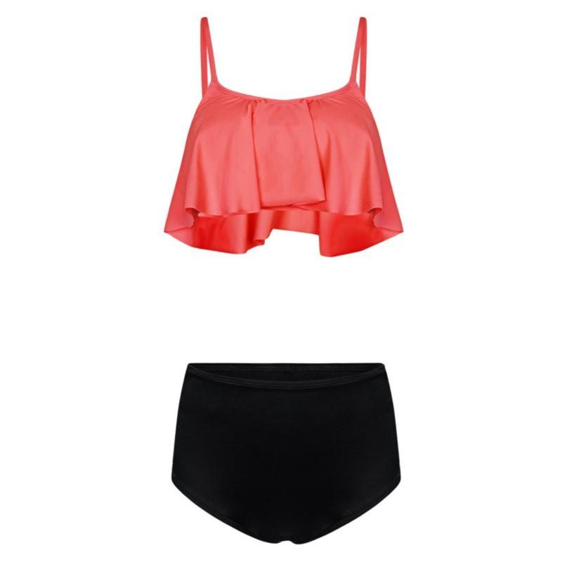 Nơi bán Bikini, áo tắm bèo phối quần lưng cao dây đan màu cam