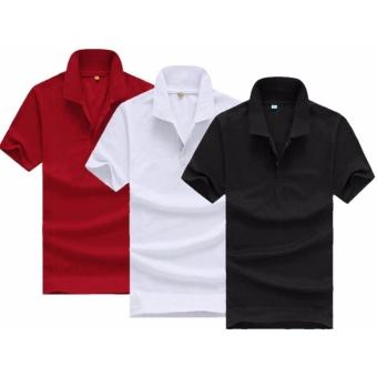 Bộ 3 áo thun nam body cổ bẻ chuẩn mọi phong cách ( đen, trắng, đỏ đô )
