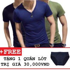 Cập Nhật Giá Bộ 3 áo thun nam body cổ tim tặng kèm quần lót ZAVANS( Đen , Xanh Đen , Xanh Rêu )  ZAVANS