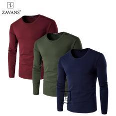 Bộ 3 áo thun nam tay dài Zavans 2017 (Đỏ - Xanh Rêu - Xanh Đen)