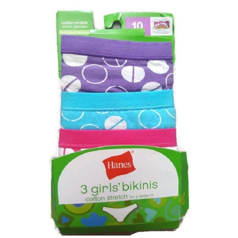 Nơi bán Bộ 3 quần lót bé gái Hanes Girls bikinis cotton stretch spandex